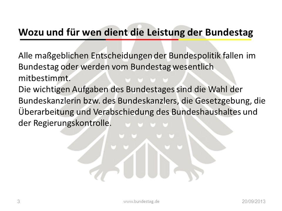 Wozu und für wen dient die Leistung der Bundestag