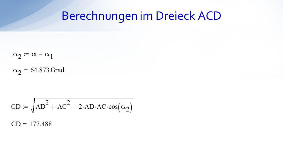 Berechnungen im Dreieck ACD