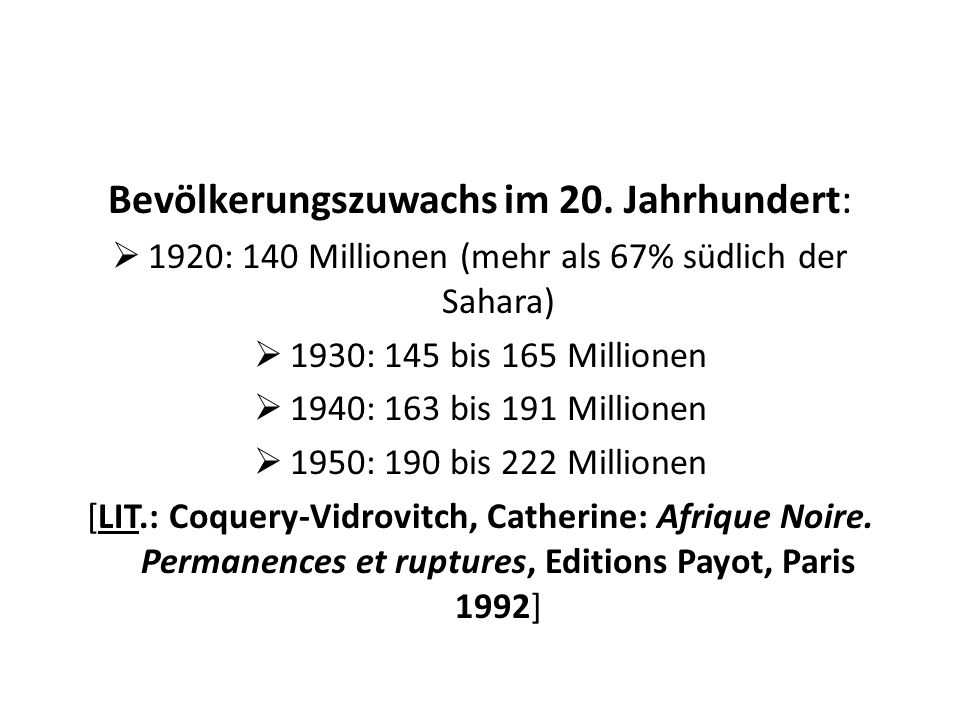 Bevölkerungszuwachs im 20. Jahrhundert: