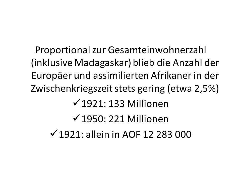 Proportional zur Gesamteinwohnerzahl (inklusive Madagaskar) blieb die Anzahl der Europäer und assimilierten Afrikaner in der Zwischenkriegszeit stets gering (etwa 2,5%)