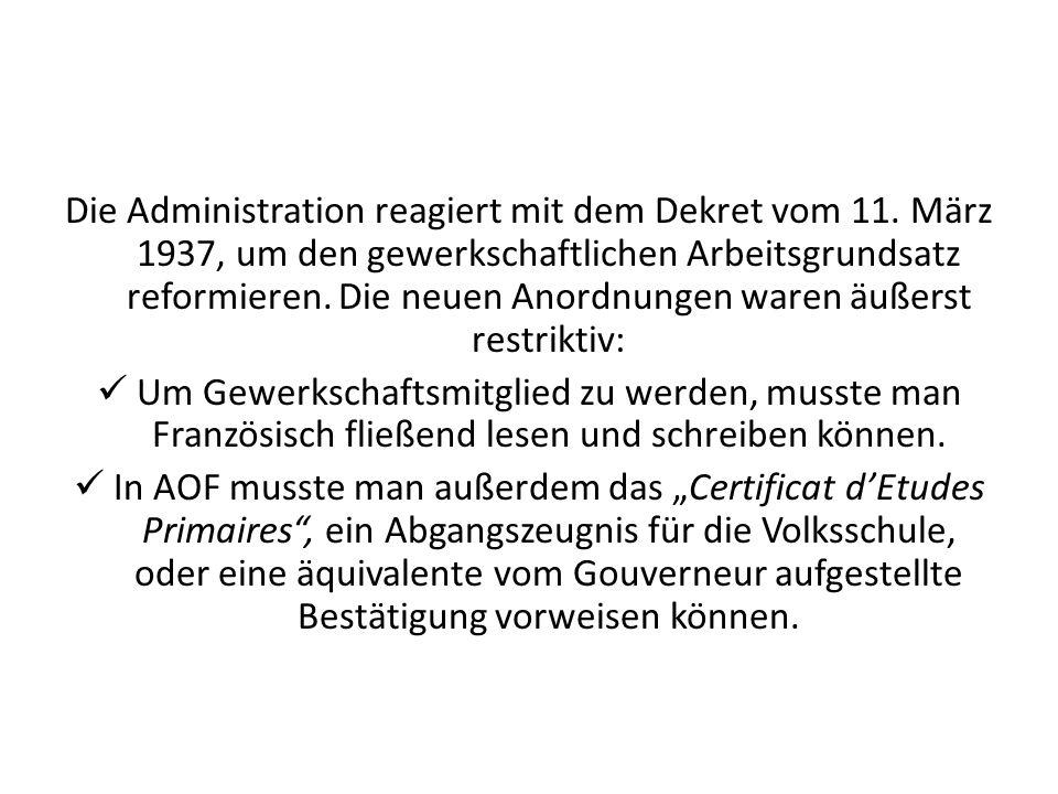 Die Administration reagiert mit dem Dekret vom 11