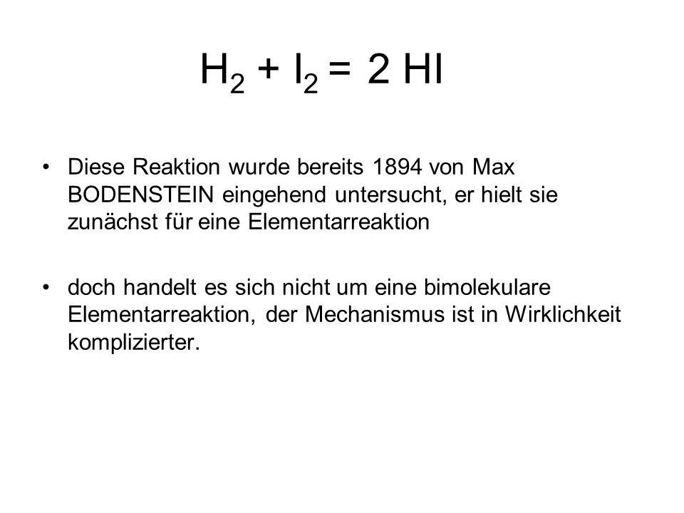 H2 + I2 = 2 HIDiese Reaktion wurde bereits 1894 von Max BODENSTEIN eingehend untersucht, er hielt sie zunächst für eine Elementarreaktion.