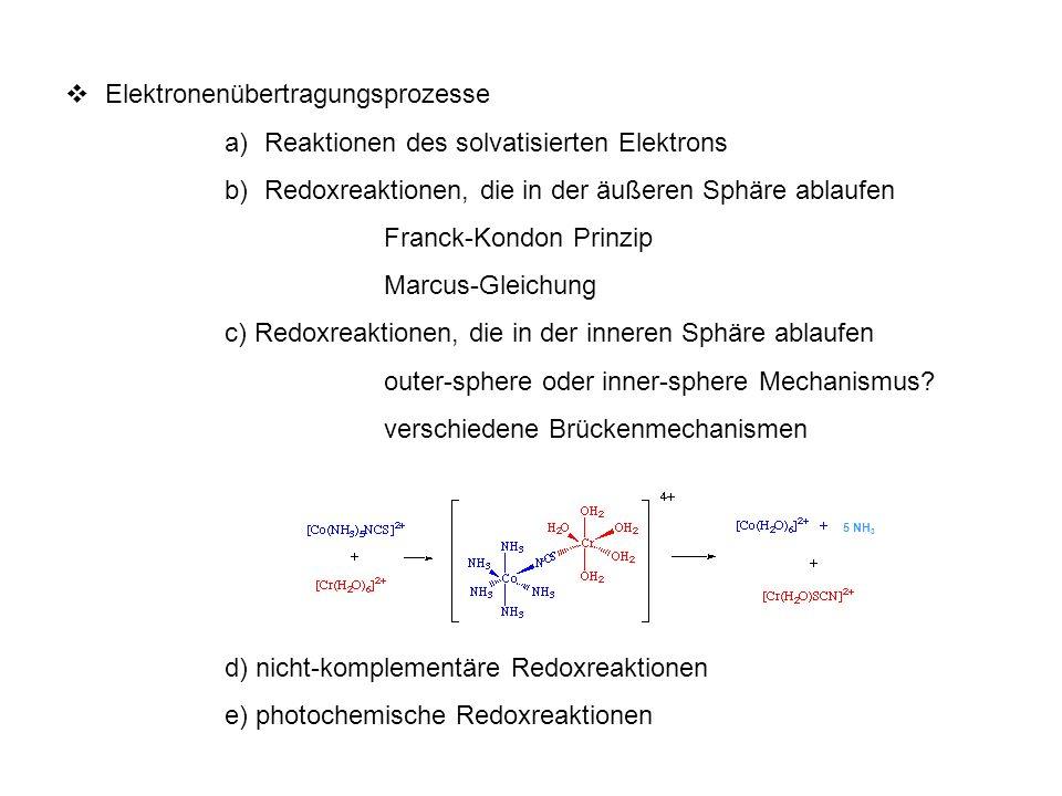 Elektronenübertragungsprozesse Reaktionen des solvatisierten Elektrons