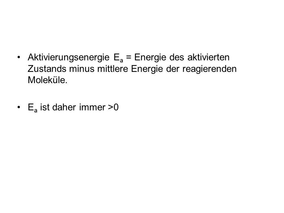 Aktivierungsenergie Ea = Energie des aktivierten Zustands minus mittlere Energie der reagierenden Moleküle.