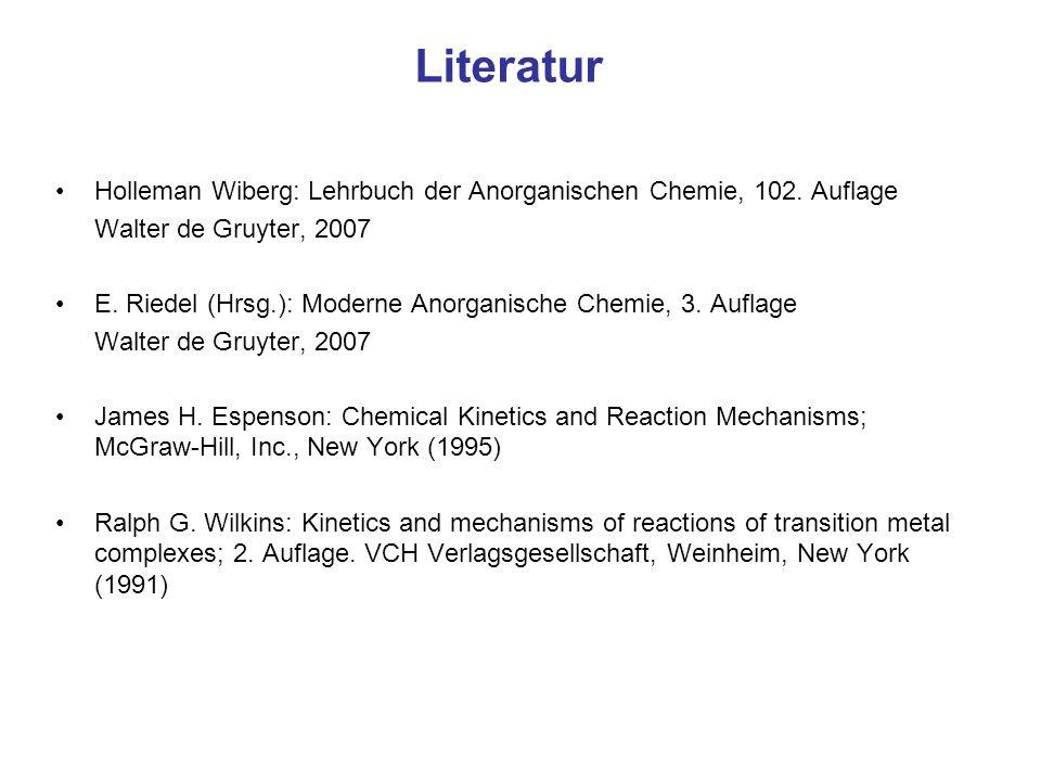 Literatur Holleman Wiberg: Lehrbuch der Anorganischen Chemie, 102. Auflage. Walter de Gruyter, 2007.