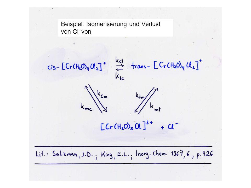 Beispiel: Isomerisierung und Verlust von Cl- von
