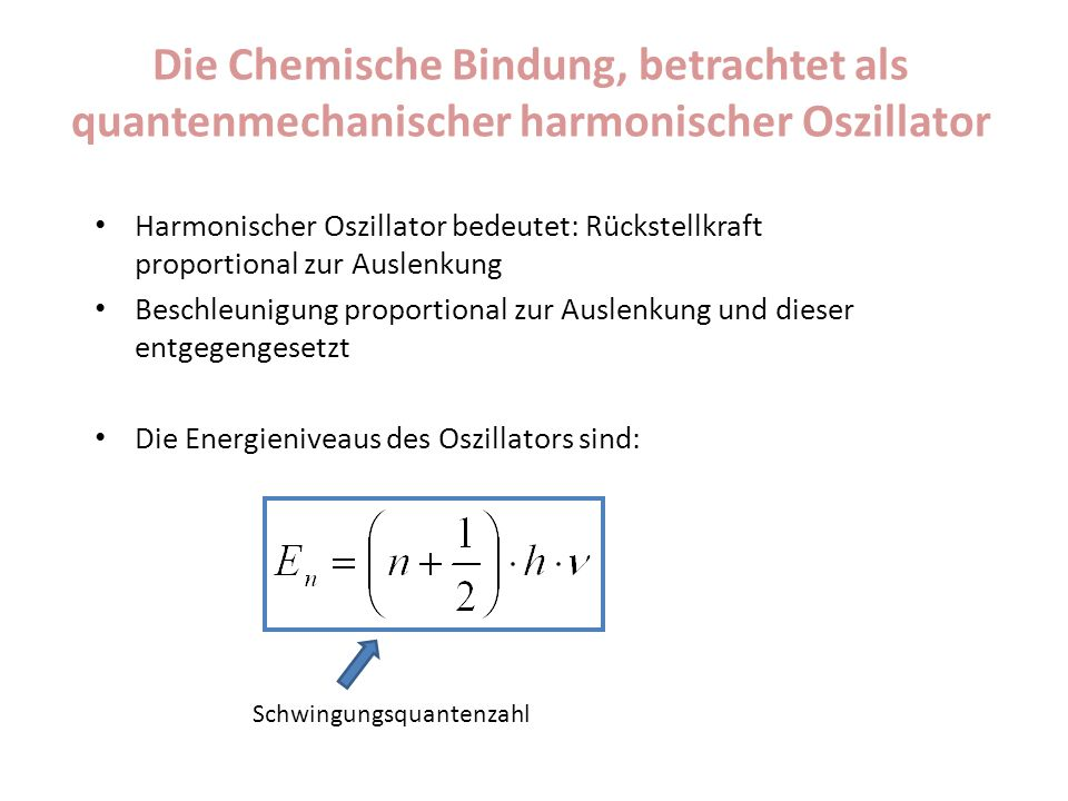 Die Chemische Bindung, betrachtet als quantenmechanischer harmonischer Oszillator