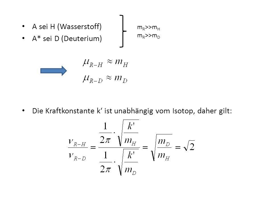 Die Kraftkonstante k' ist unabhängig vom Isotop, daher gilt: