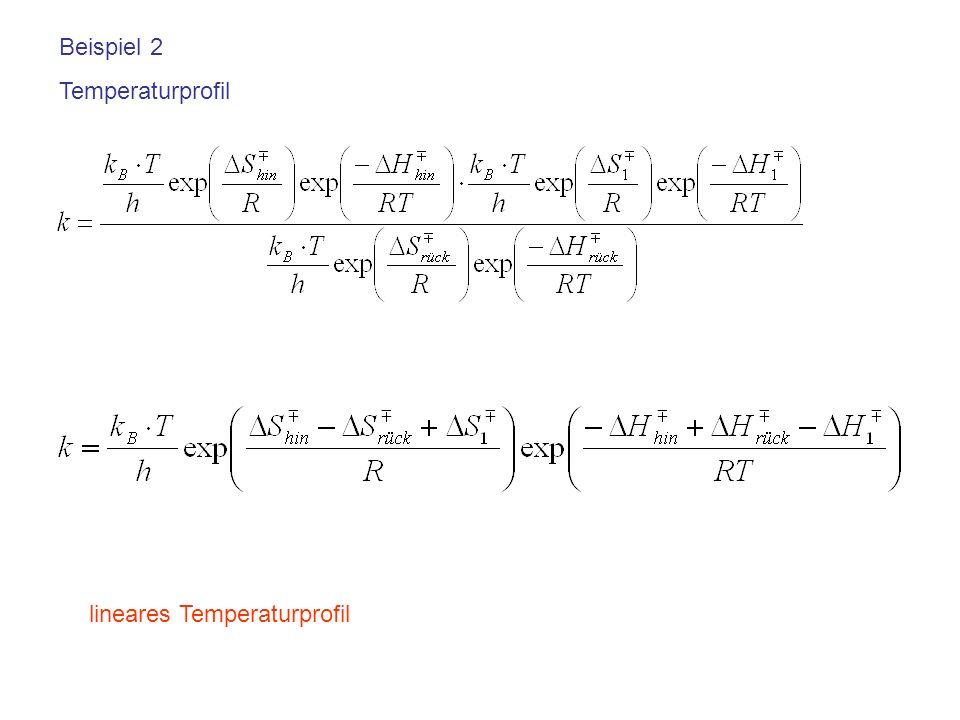 Beispiel 2 Temperaturprofil lineares Temperaturprofil