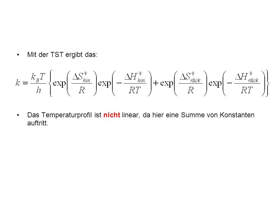 Mit der TST ergibt das: Das Temperaturprofil ist nicht linear, da hier eine Summe von Konstanten auftritt.