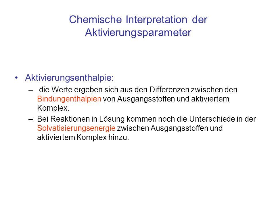 Chemische Interpretation der Aktivierungsparameter