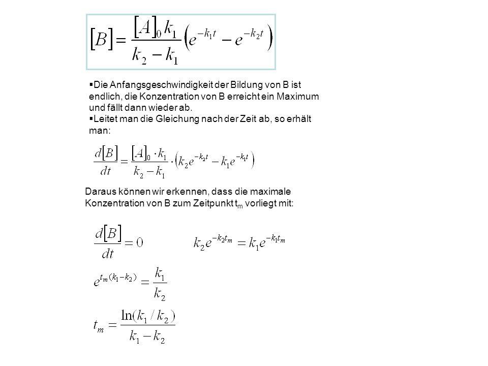 Die Anfangsgeschwindigkeit der Bildung von B ist endlich, die Konzentration von B erreicht ein Maximum und fällt dann wieder ab.
