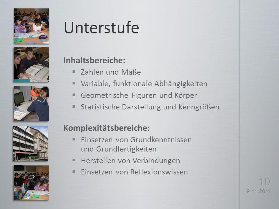 Unterstufe Inhaltsbereiche: Komplexitätsbereiche: Zahlen und Maße