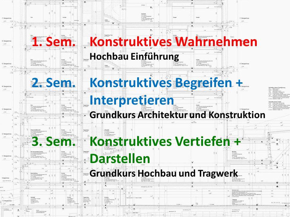1. Sem. Konstruktives Wahrnehmen Hochbau Einführung 2. Sem