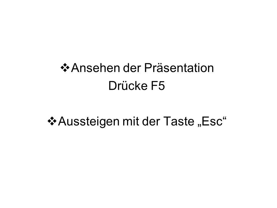 """Ansehen der Präsentation Drücke F5 Aussteigen mit der Taste """"Esc"""