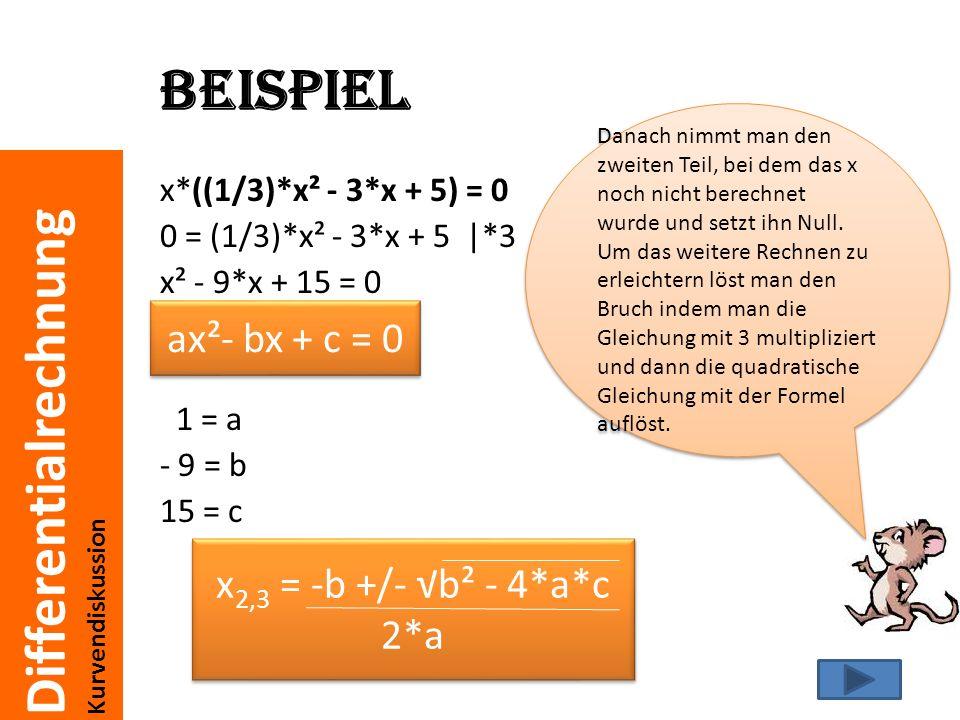 Beispiel ax²- bx + c = 0 x2,3 = -b +/- √b² - 4*a*c 2*a