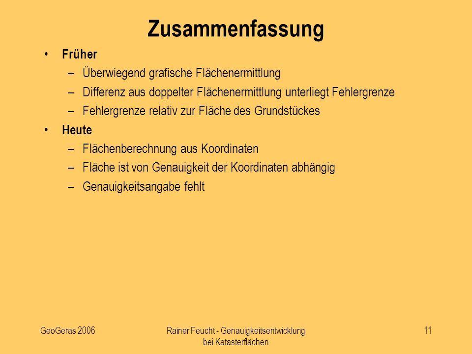Rainer Feucht - Genauigkeitsentwicklung bei Katasterflächen
