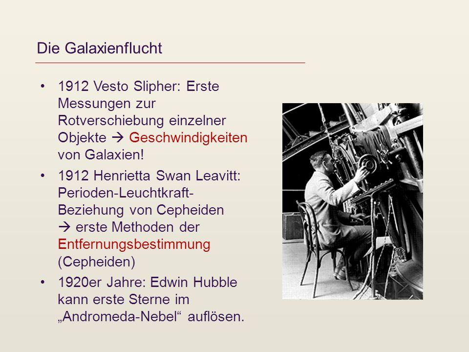 Die Galaxienflucht 1912 Vesto Slipher: Erste Messungen zur Rotverschiebung einzelner Objekte  Geschwindigkeiten von Galaxien!