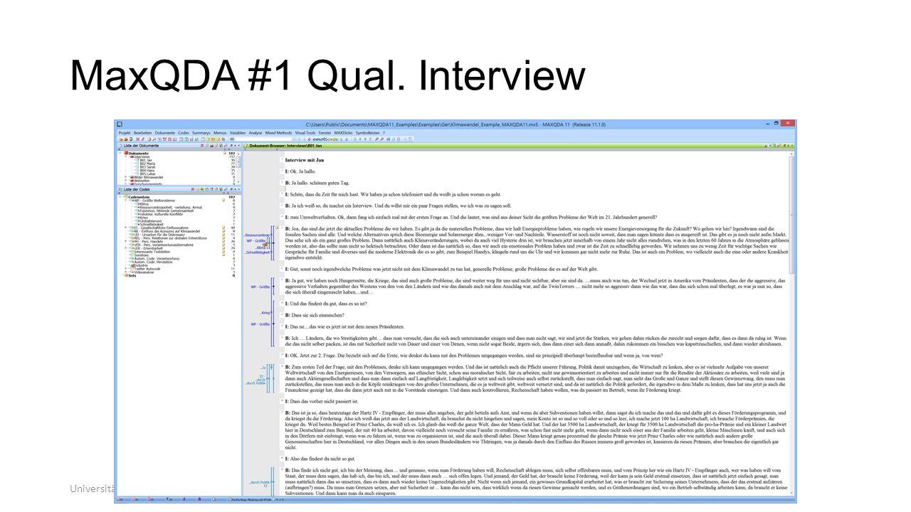 MaxQDA #1 Qual. Interview