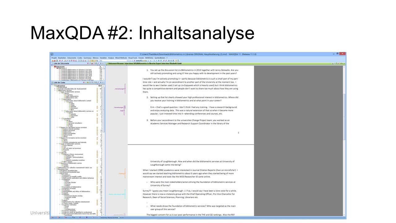 MaxQDA #2: Inhaltsanalyse