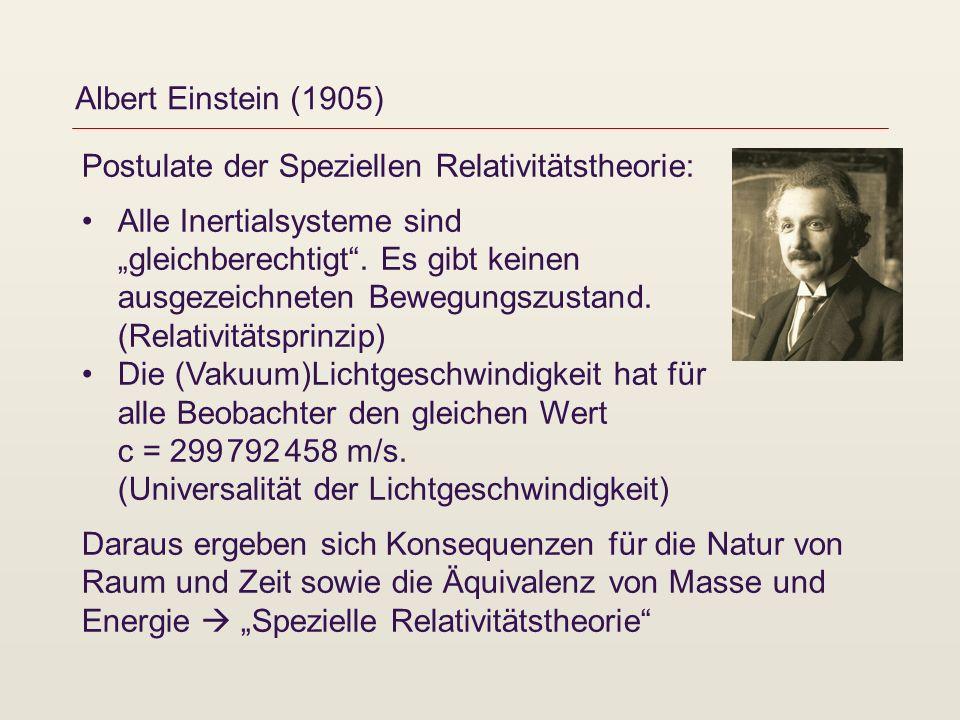 Albert Einstein (1905) Postulate der Speziellen Relativitätstheorie: