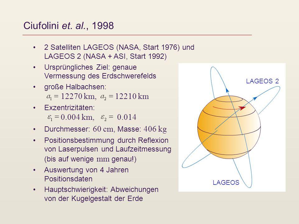 Ciufolini et. al., 1998 2 Satelliten LAGEOS (NASA, Start 1976) und LAGEOS 2 (NASA + ASI, Start 1992)