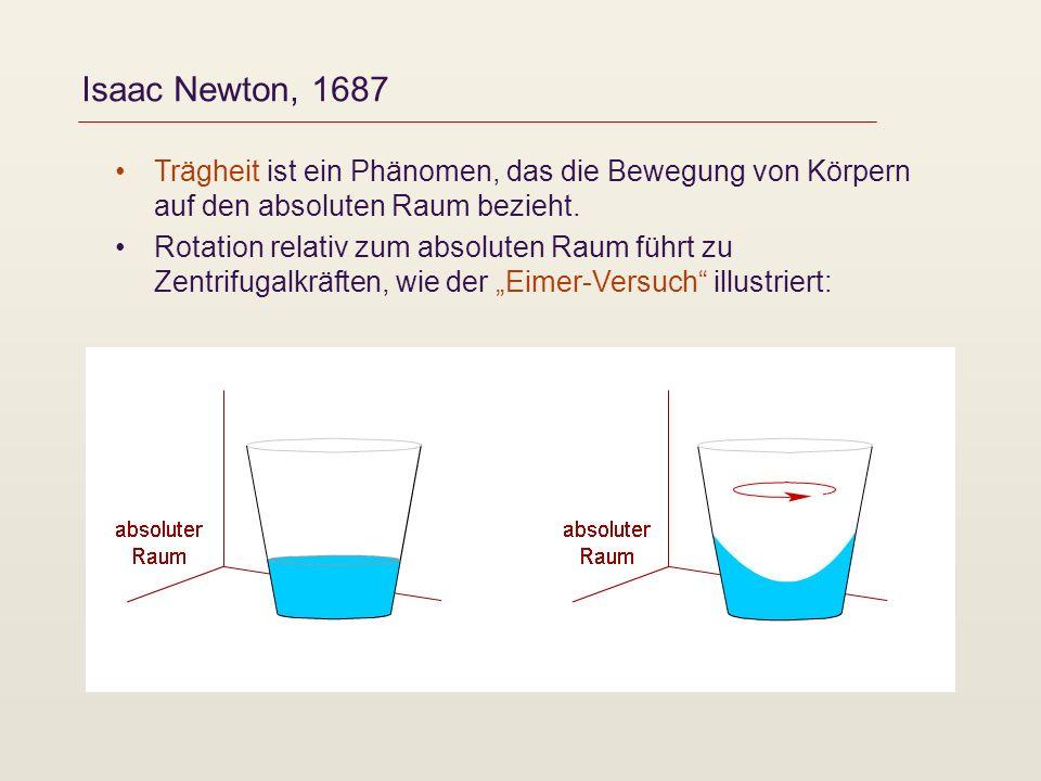 Isaac Newton, 1687 Trägheit ist ein Phänomen, das die Bewegung von Körpern auf den absoluten Raum bezieht.