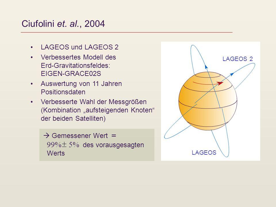 Ciufolini et. al., 2004 LAGEOS und LAGEOS 2