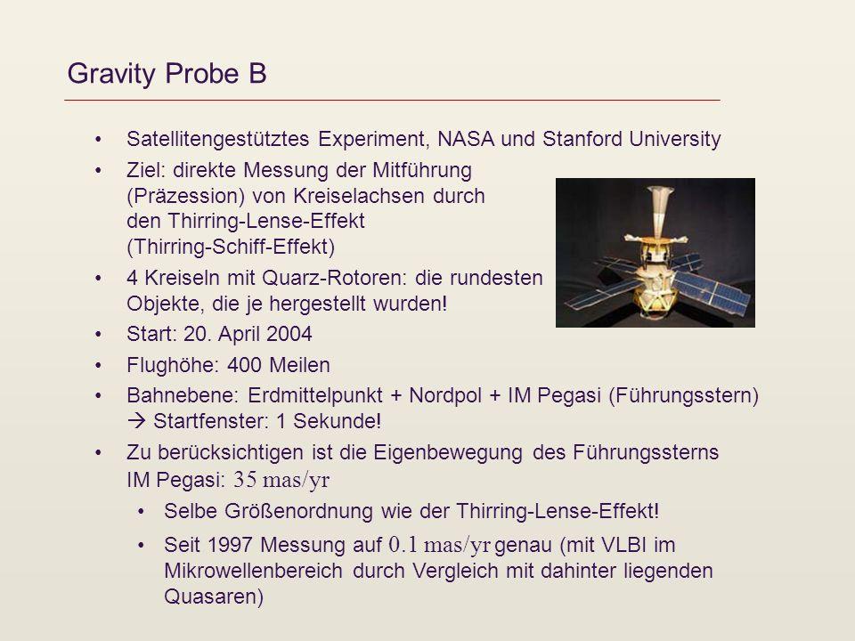 Gravity Probe B Satellitengestütztes Experiment, NASA und Stanford University.