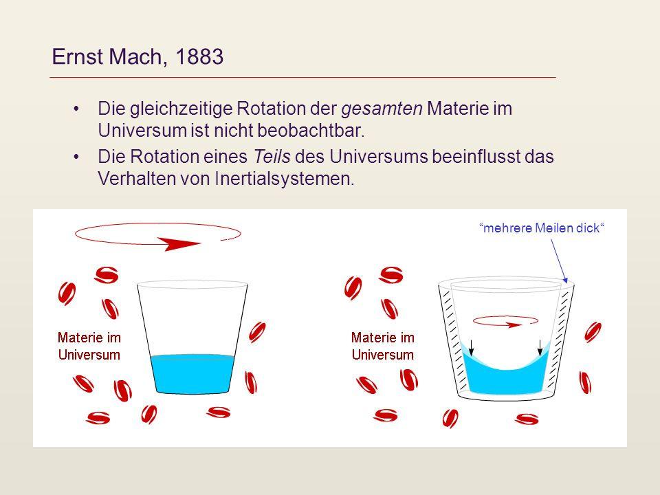 Ernst Mach, 1883 Die gleichzeitige Rotation der gesamten Materie im Universum ist nicht beobachtbar.