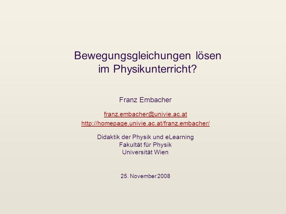 Bewegungsgleichungen lösen im Physikunterricht