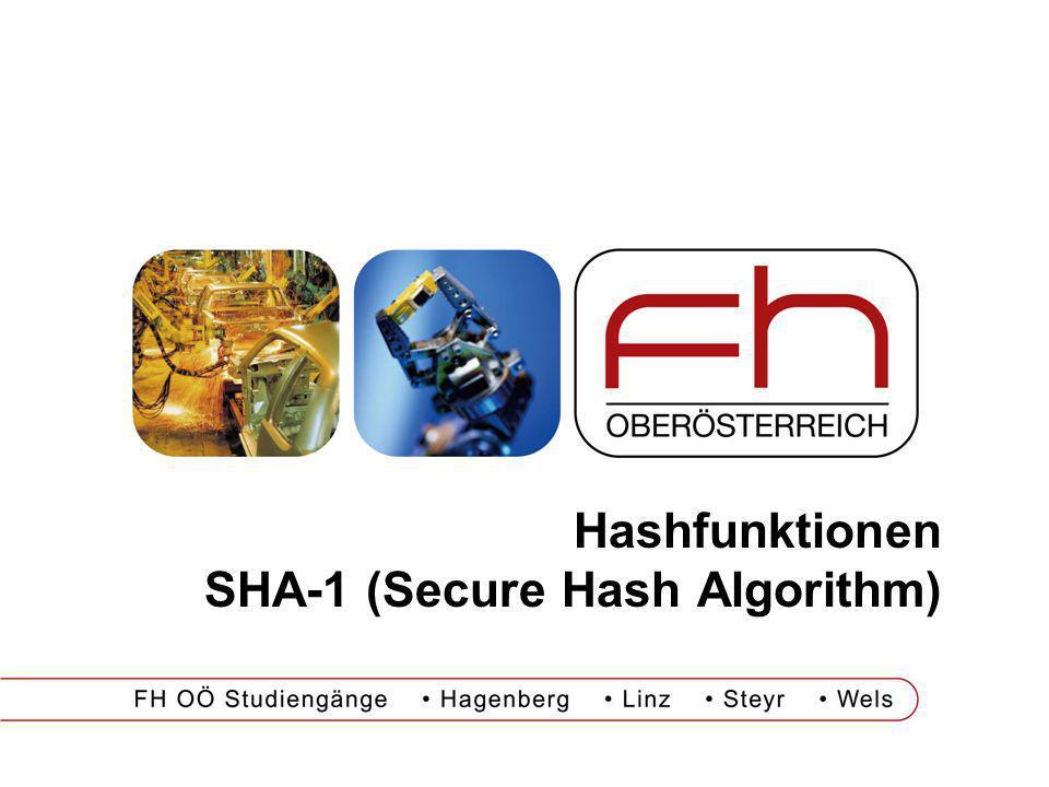 Hashfunktionen SHA-1 (Secure Hash Algorithm)