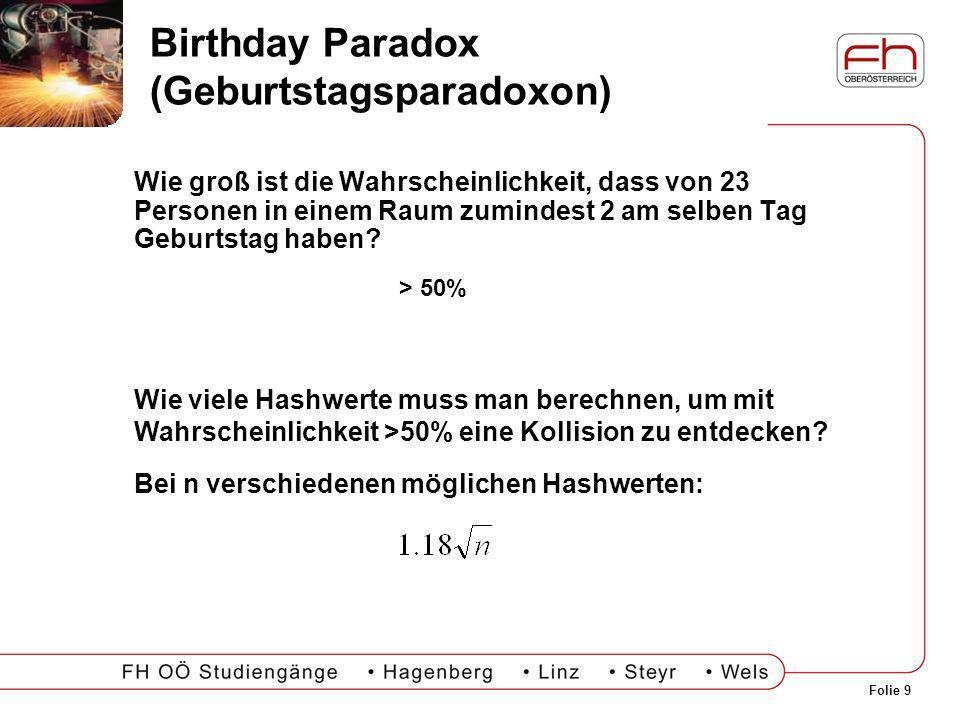 Birthday Paradox (Geburtstagsparadoxon)