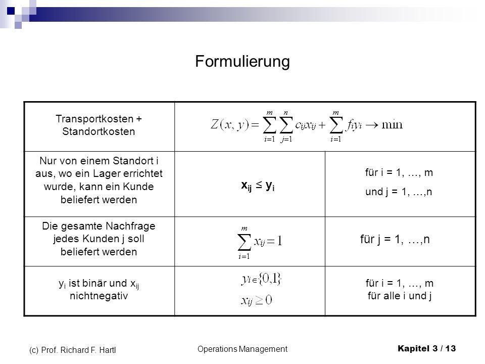 Formulierung xij ≤ yi für j = 1, …,n Transportkosten + Standortkosten