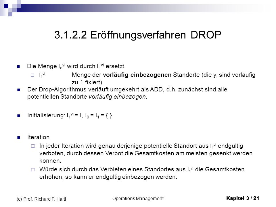 3.1.2.2 Eröffnungsverfahren DROP