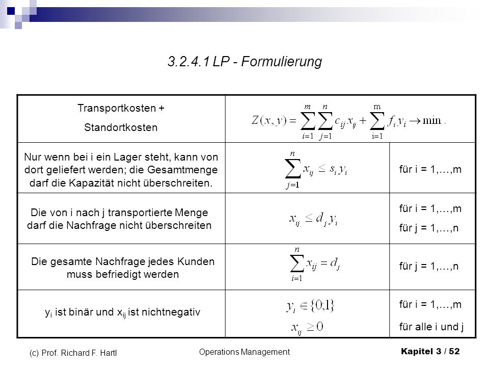 3.2.4.1 LP - Formulierung Transportkosten + Standortkosten