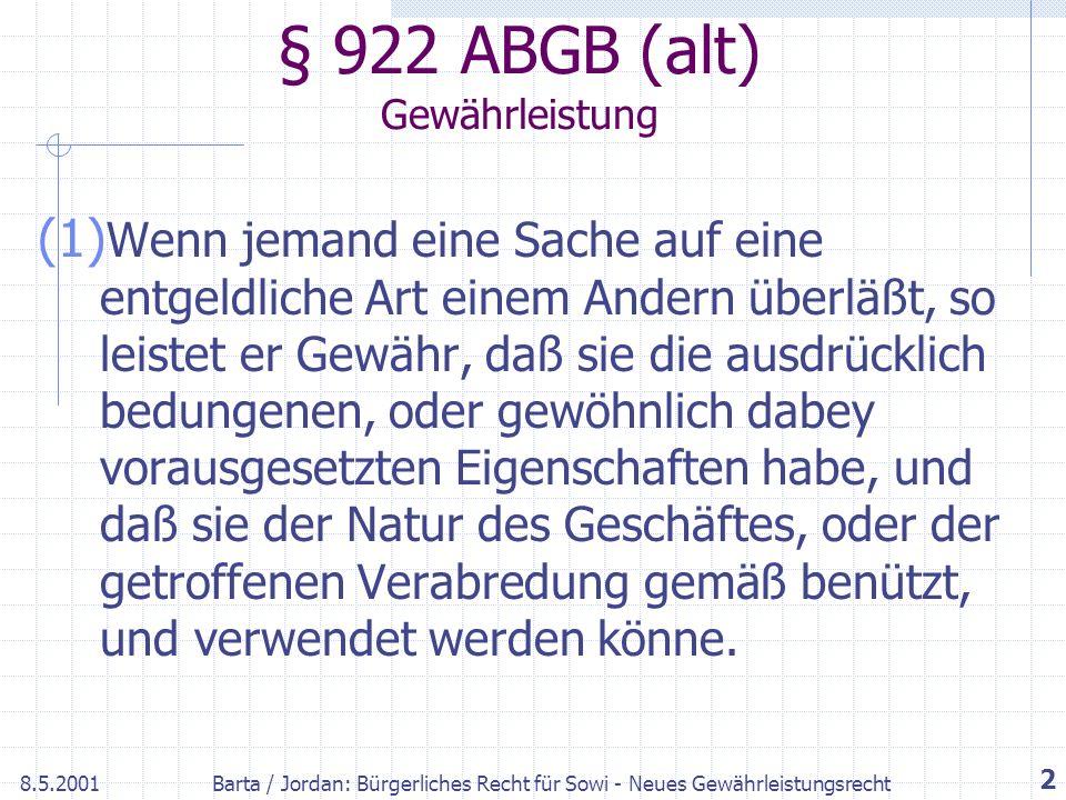 § 922 ABGB (alt) Gewährleistung