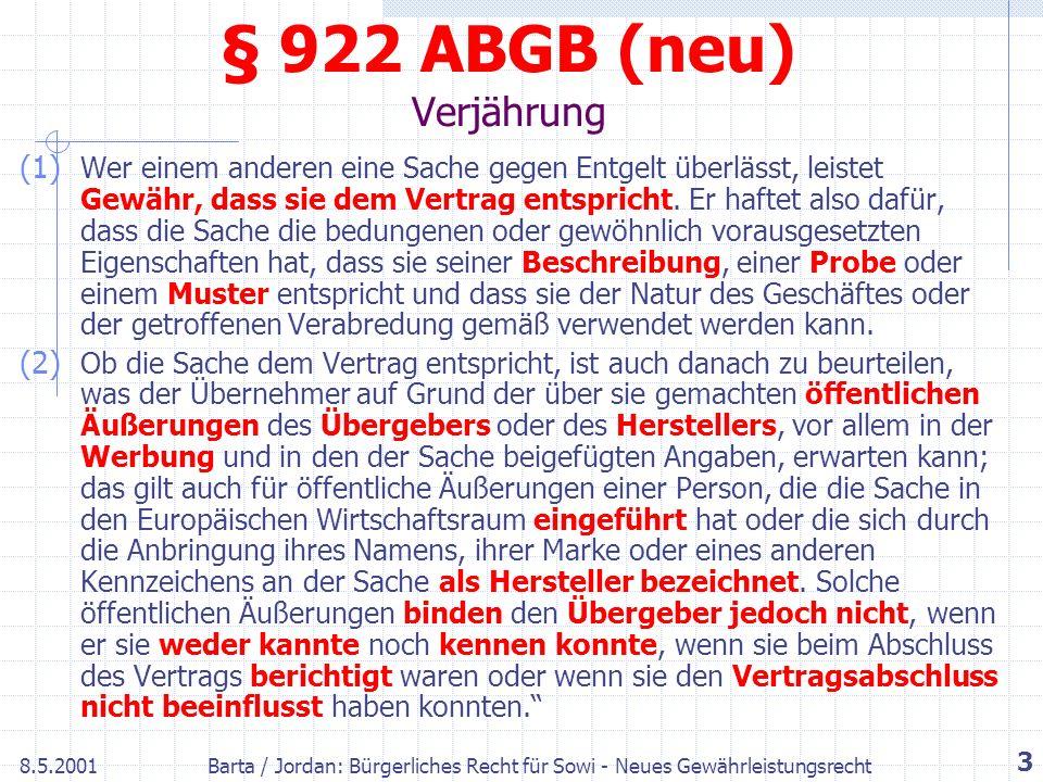 § 922 ABGB (neu) Verjährung