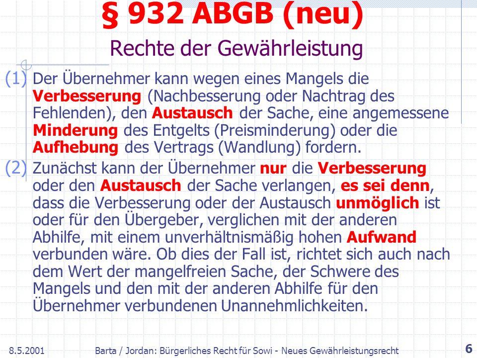 § 932 ABGB (neu) Rechte der Gewährleistung
