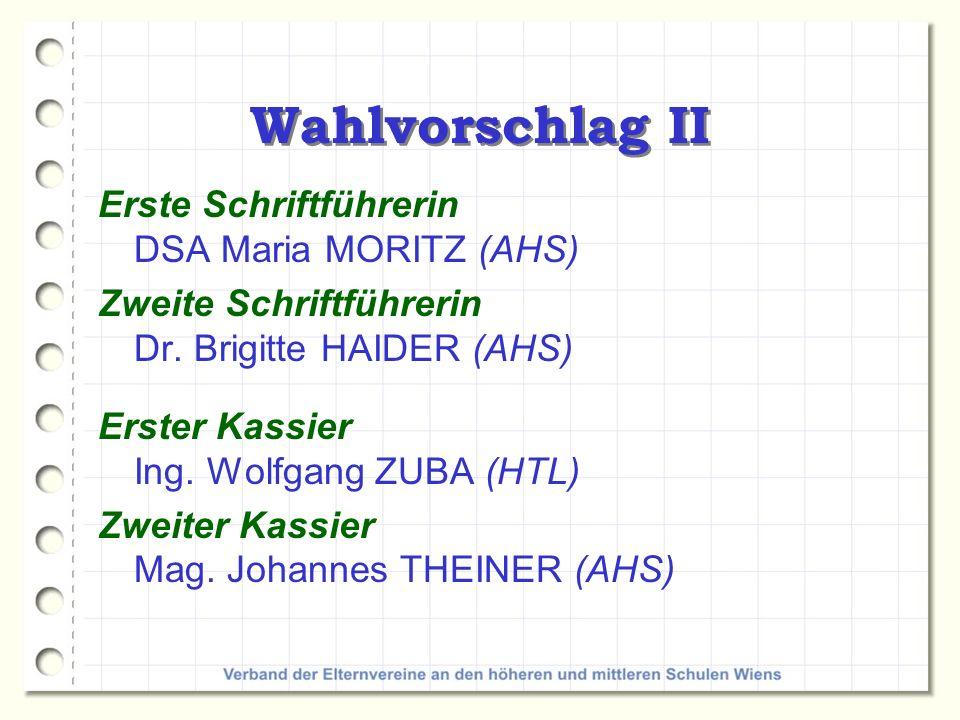 Wahlvorschlag II Erste Schriftführerin DSA Maria MORITZ (AHS)