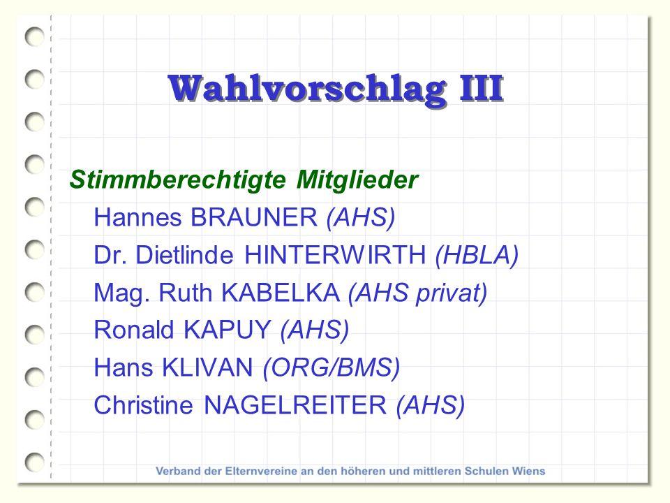 Wahlvorschlag III Stimmberechtigte Mitglieder Hannes BRAUNER (AHS)