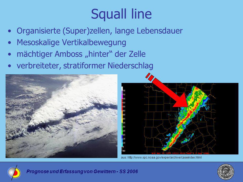 Squall line Organisierte (Super)zellen, lange Lebensdauer