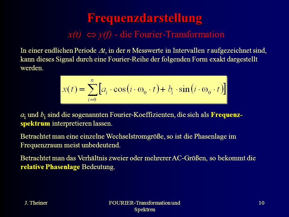 Frequenzdarstellung x(t)  y(f) - die Fourier-Transformation
