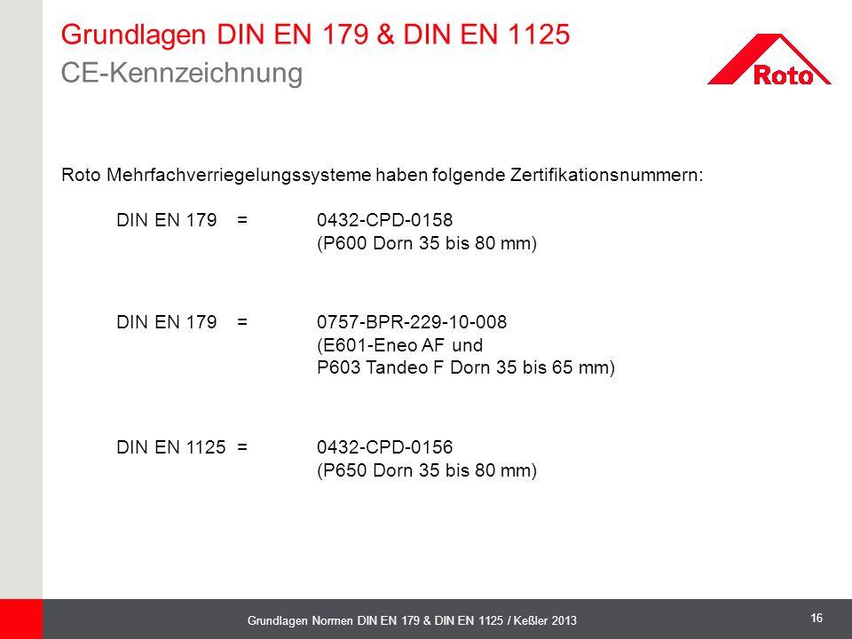 Grundlagen DIN EN 179 & DIN EN 1125 CE-Kennzeichnung