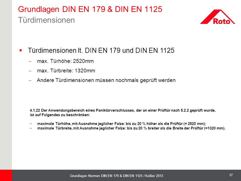 Grundlagen DIN EN 179 & DIN EN 1125 Türdimensionen