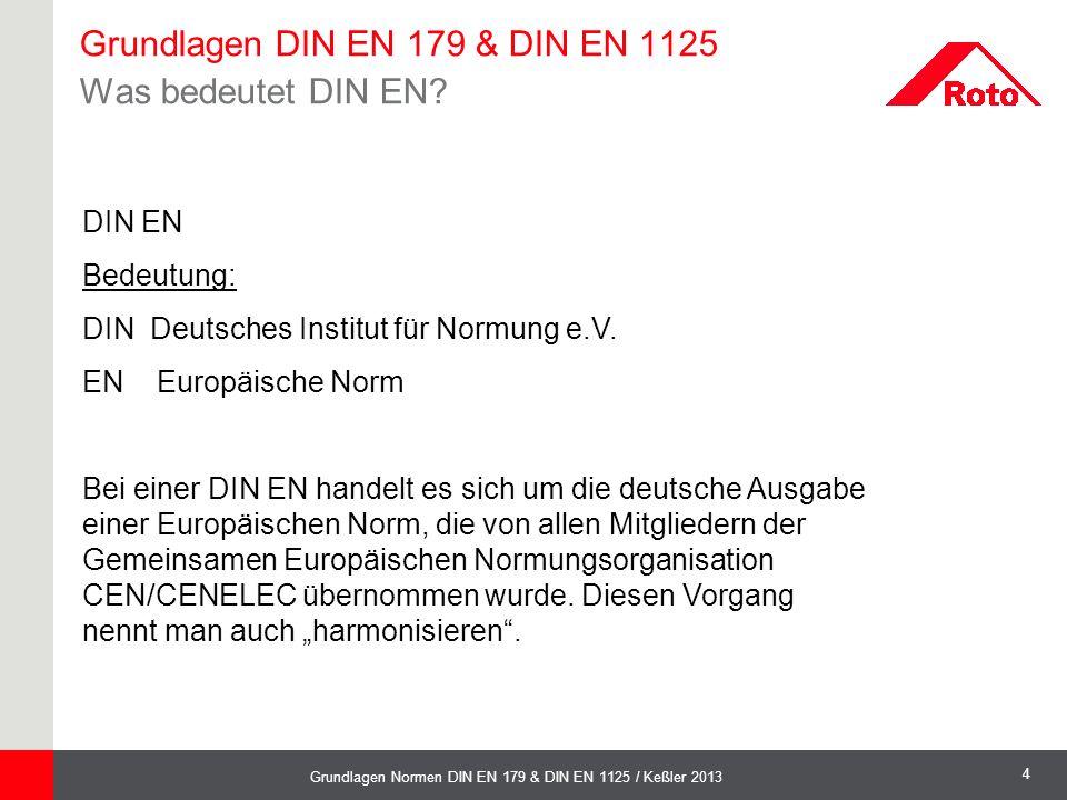 Grundlagen DIN EN 179 & DIN EN 1125 Was bedeutet DIN EN