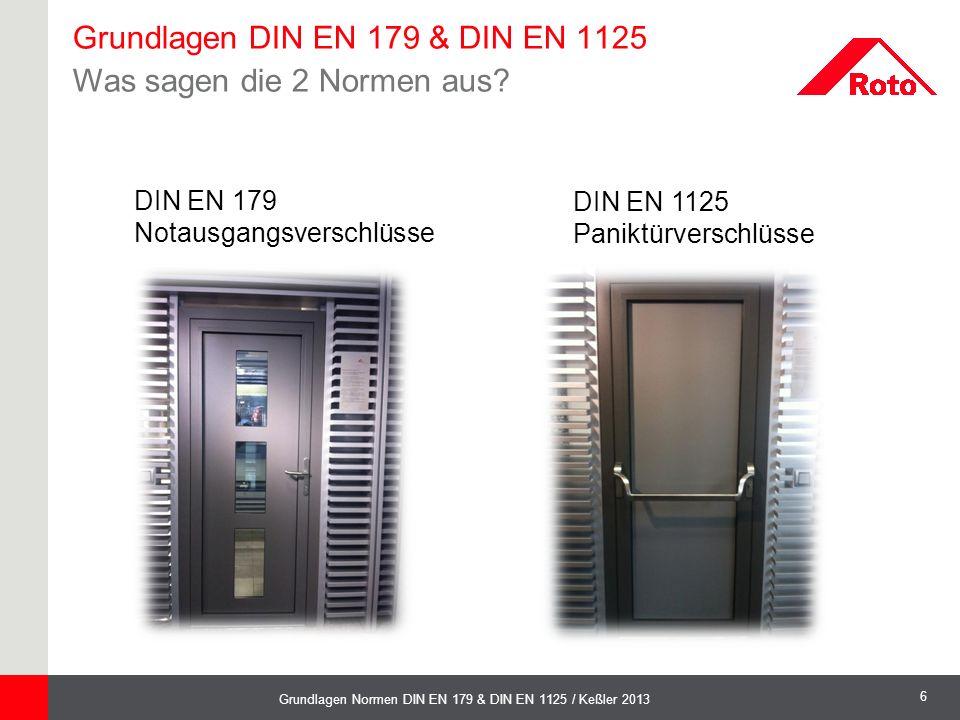 Grundlagen DIN EN 179 & DIN EN 1125 Was sagen die 2 Normen aus
