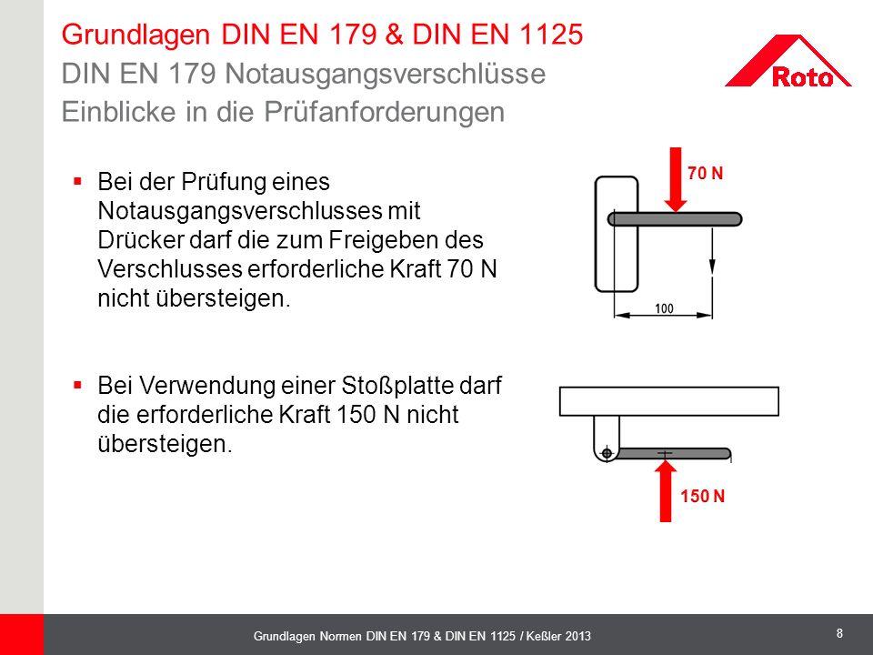 Grundlagen DIN EN 179 & DIN EN 1125 DIN EN 179 Notausgangsverschlüsse