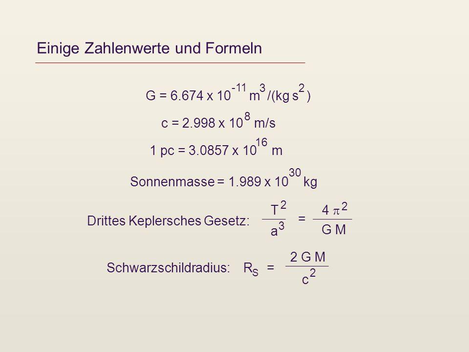 Einige Zahlenwerte und Formeln