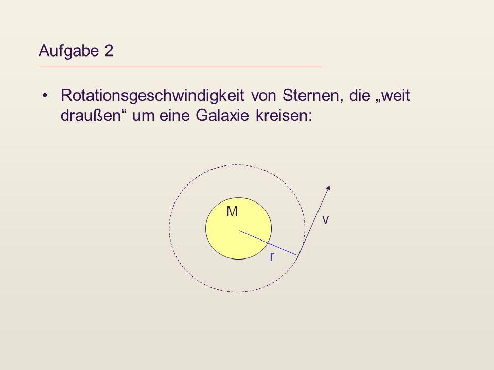 """Aufgabe 2 Rotationsgeschwindigkeit von Sternen, die """"weit draußen um eine Galaxie kreisen: M v r"""